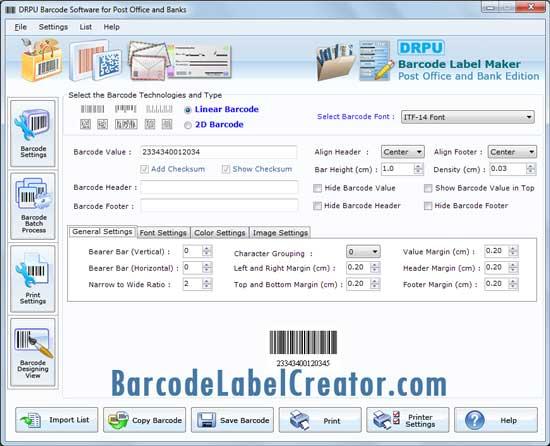 Post Office Barcode Creator screenshot